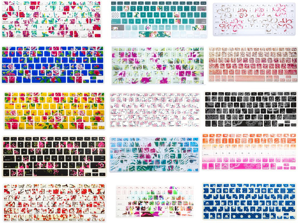 50pcs/lot Flowers Design Silicone US Keyboard Cover Keypad Skin Protector For Apple Mac Macbook Pro 13 15 17 Air 13 Retina 13