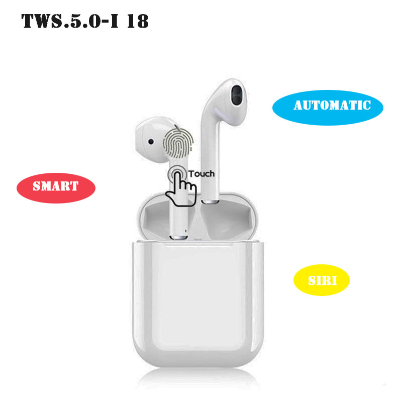 Magnetic Charging TWS 5.0 Touch i18 Wireless Bluetooth Earphones For Smartphone Stereo Surround Headphones
