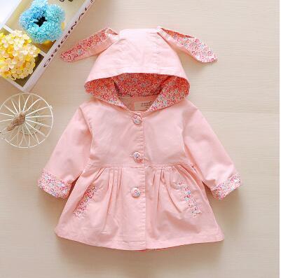 Детская одежда весной и осенью верхняя одежда девочка лук с длинными рукавами хлопок траншеи ребенка кардиган мода стиль пальто младенца