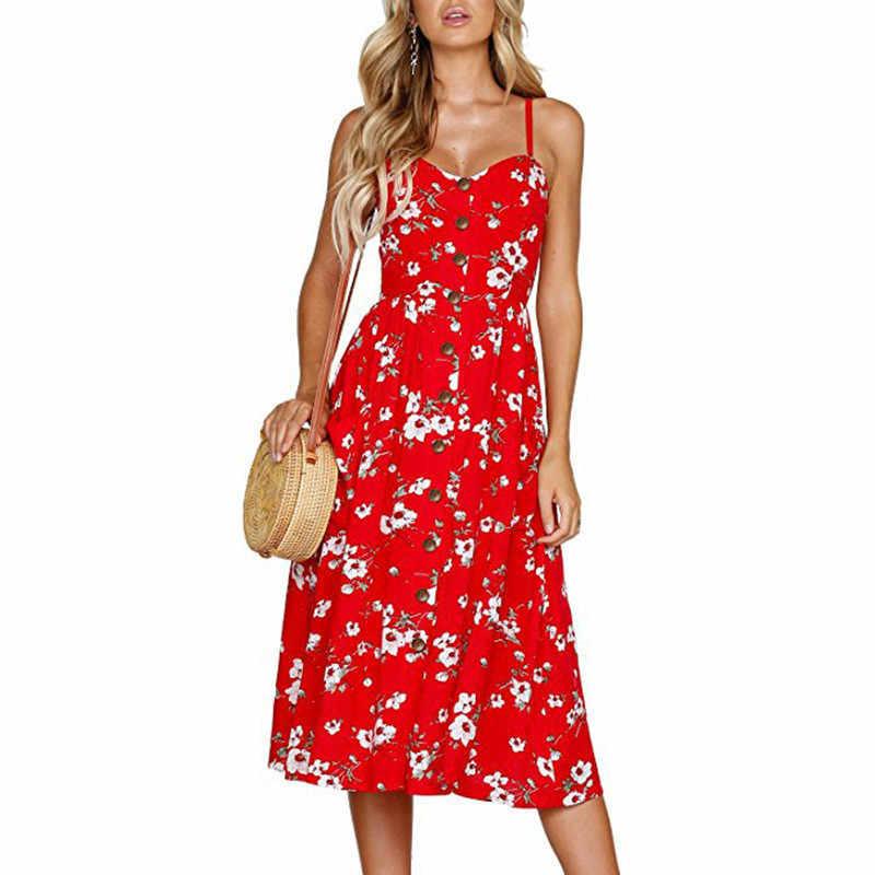 Эхоин женский сарафан спагетти ремень платье пикантный низкий разрез Цветочный Принт без бретелек без рукавов свободная Женская Очаровательная одежда для путешествий