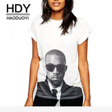 HDY HAODUOYI Summer Tops For Women 2019 Street Fashion Kawaii 90s White Dark Glasses Characters Printed Short Sleeve T-Shirt