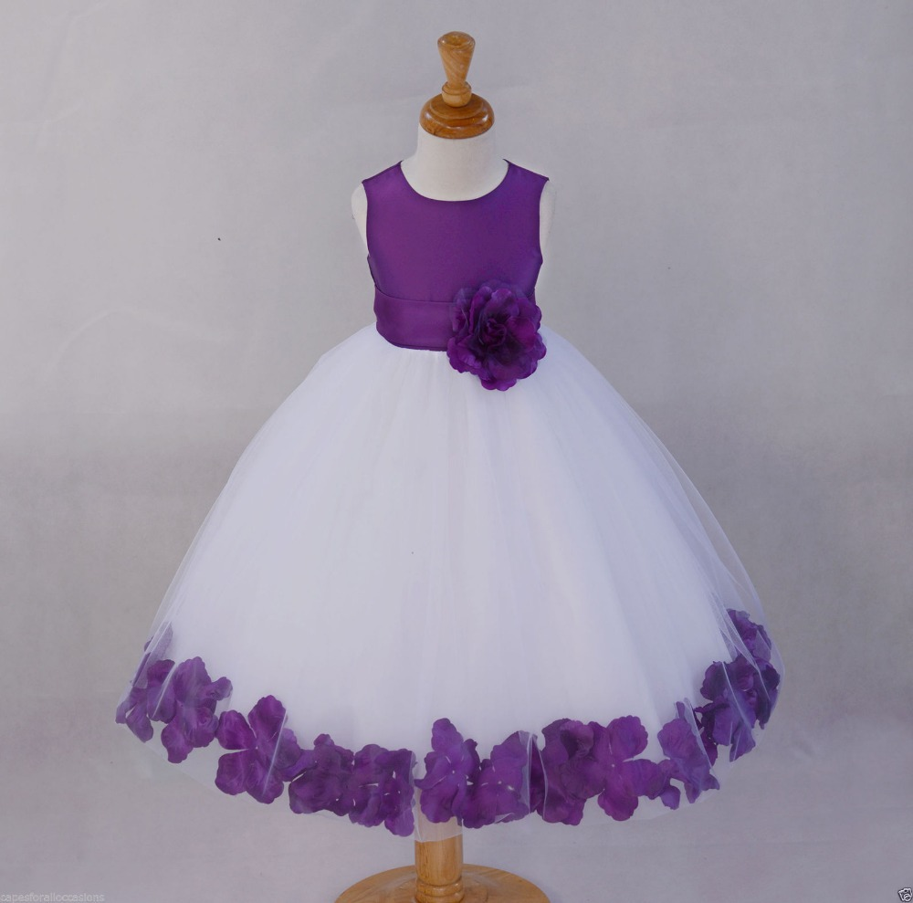 White Flower Girl Dress Purple Blue Wedding Pageant 12 18m 2 2t 3t 4