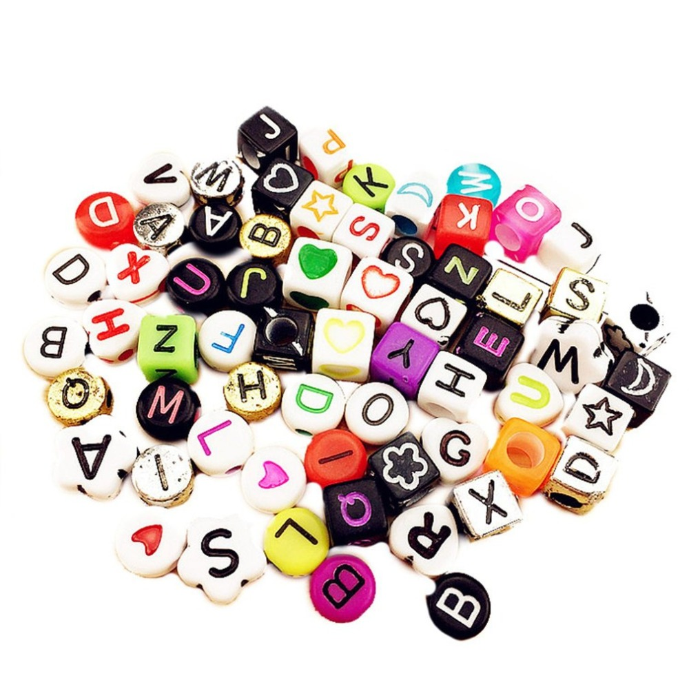 100Pcs DIY Jewelry Accessories Letter Beads Handmade Acrylic Bead Kit Jewelry Beads Set Necklaces Bracelet Making Toys For Girls