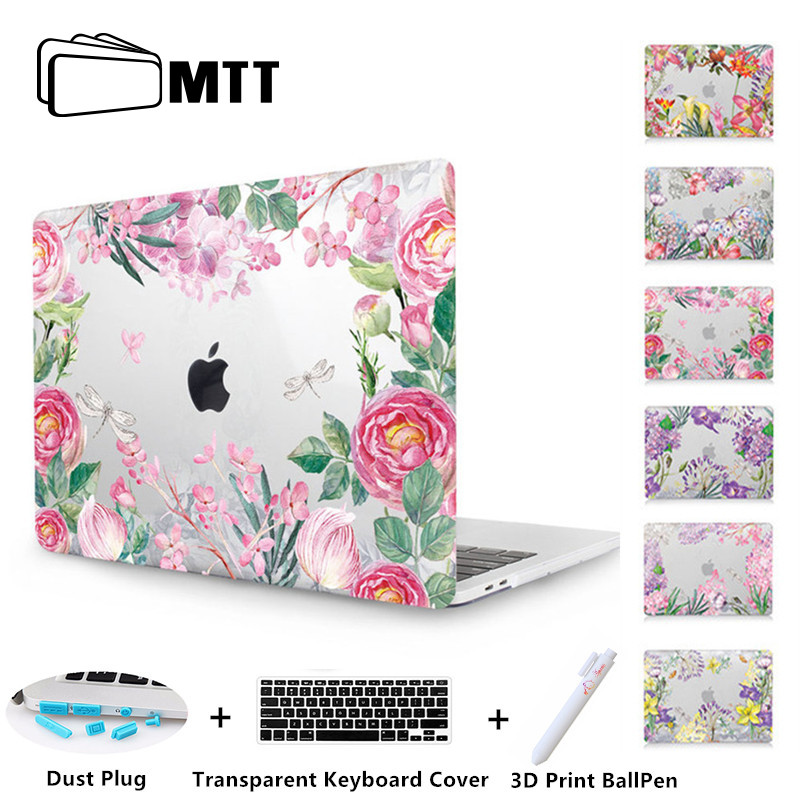 MTT Clear Crystal Case For macbook Pro 13 15 Retina 12 inch Touch Bar Watercolor flower Laptop bag Cover for Macbook Air 13 case soyan pu laptop sleeve envelope bag for macbook air pro retina 11 12 13 15