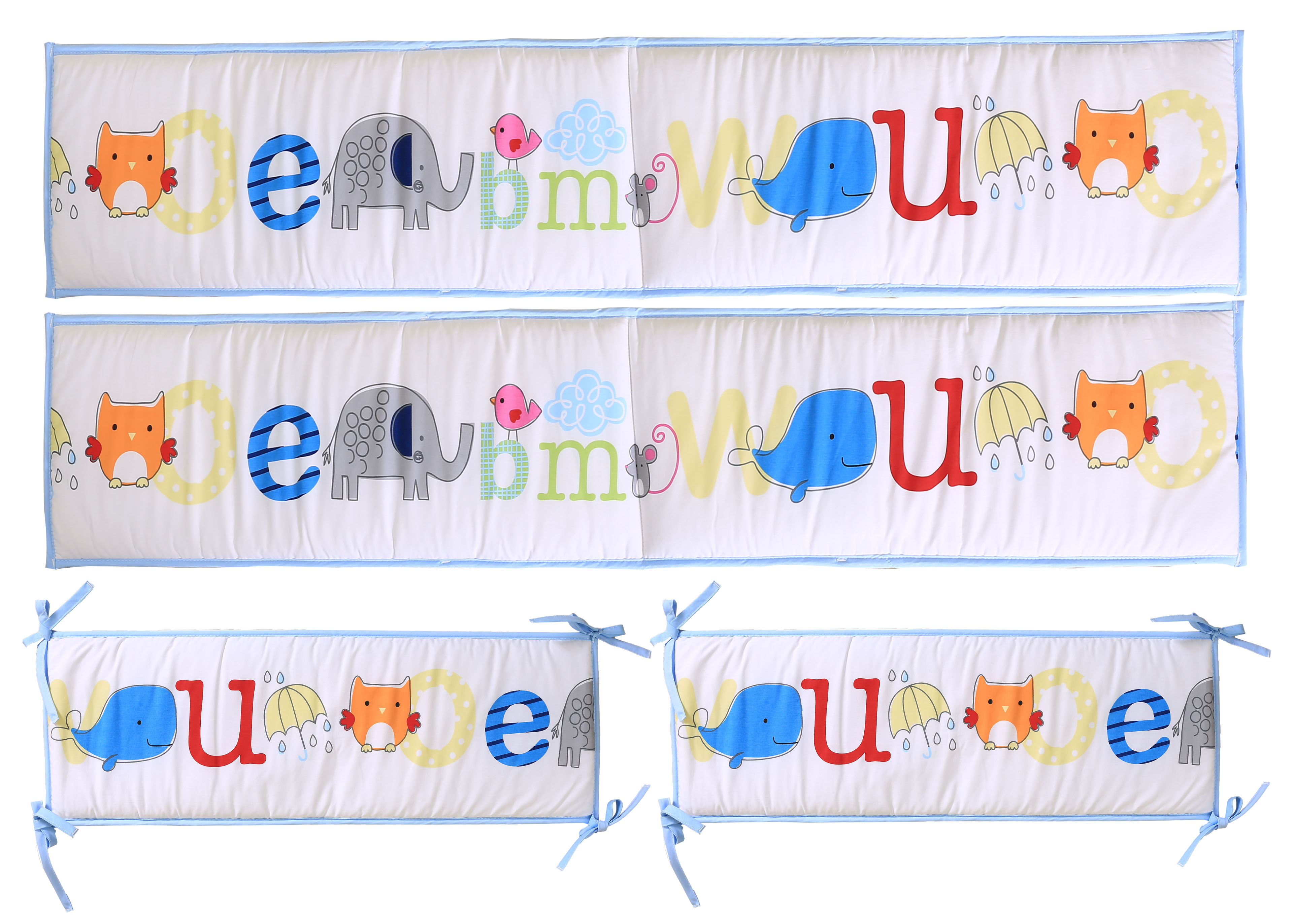 100% Cotton Alphabet Print 4pcs Baby Crib Bumper For Baby Boy Cot Bed