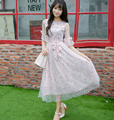 Vintage sweet lolita dress Candy rain cunte Spring Japanese style Net yarn lace floral dress G382