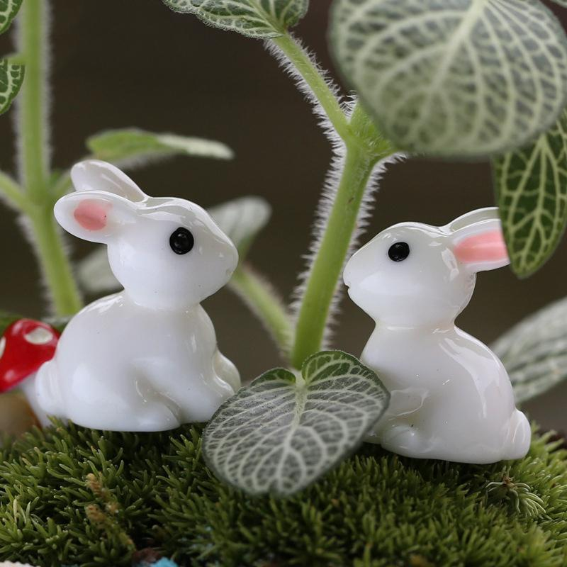 1 Pair Mini Rabbit Ornament Miniature Figurine Plant Pot Garden Decor Toys Home Crafts Classic Art Collectible