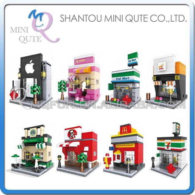 Mini Qute WTOYW HSANHE kawaii sport retail store supermarket coffee Shop plastic building block model brick educational toy