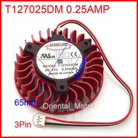 Free Shipping New EVERFLOW T127025DM 0 25AMP 3Pin 3Wire 65mm 40 40 40mm Graphics Video Card