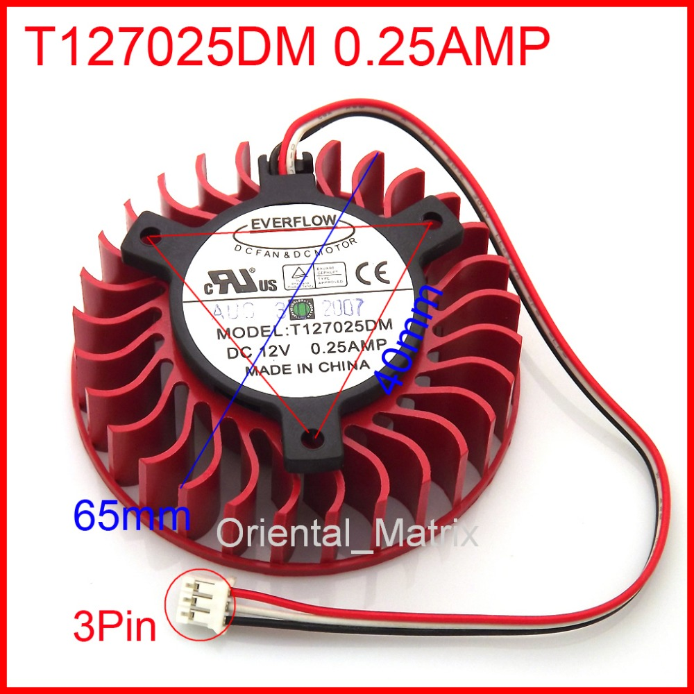 Free Shipping New T127025DM 0.25A 65mm 40*40*40mm 3Wires 3Pin Graphics Video Card Cooler Cooling Fan free shipping t128015su msi r4770 hd4770 4pin pwn graphics card fan