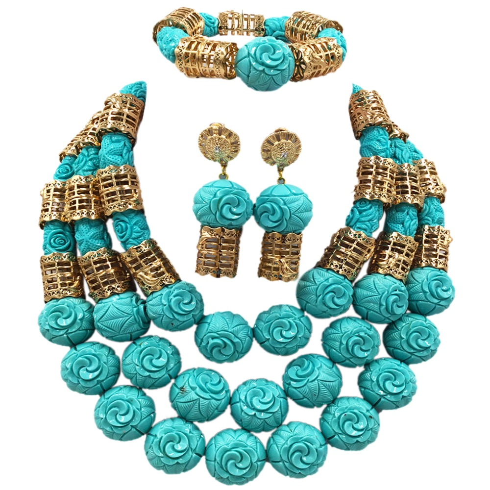 Fashion Teal Green Artifical Nigerian Coral Beads Necklace Earrings Set for Bride New African Wedding Jewelry Set  ACB-25Fashion Teal Green Artifical Nigerian Coral Beads Necklace Earrings Set for Bride New African Wedding Jewelry Set  ACB-25