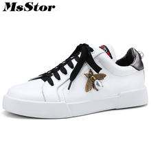 MsStor Round Toe Cross Tied Women Flats Casual Fashion Ladies Flat Shoes 2018 Spring Metal Decoration Pearl Women's Flat Shoes