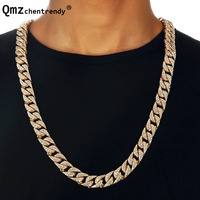 Hip Hop Bling Fully Iced Out Rhinestoe Mens Miami Cuban Link Chain Golden Necklaces Simulated Gemstone Club Bar Chains Jewelry