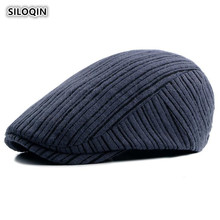 SILOQIN  Berets For Women Spring Autumn Fashion New Style Knitted Woolen Hat Adjustable Size Leisure Retro Mens Snapback