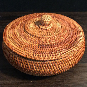 Image 5 - Storage Basket Hand woven Rattan Woven With Cover Round Primary Color Chinese Jewelry Snacks Tea set Storage Box Household Items