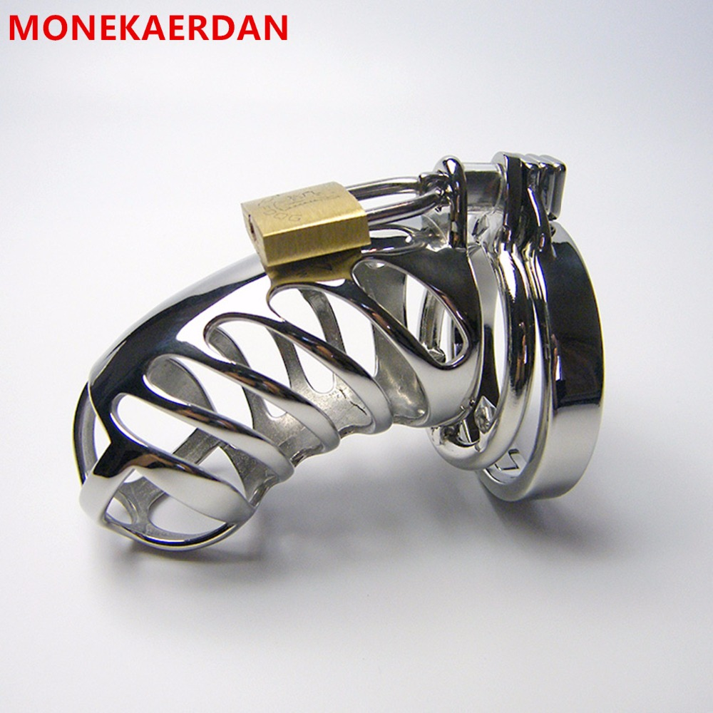 Stainless Steel Male Cock Cage Penis Rings Bondage Slave Metal Chastity Device , Fetish Sex Game Toys For Men wearable penis sleeve extender reusable condoms sex shop cockring penis ring cock ring adult sex toys for men for couple