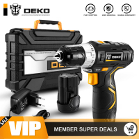 DEKO GCD12DU3 12 V Max Electric Screwdriver Cordless Drill Mini Wireless Power Driver DC Lithium Ion Battery 3/8 Inch 2 Speed