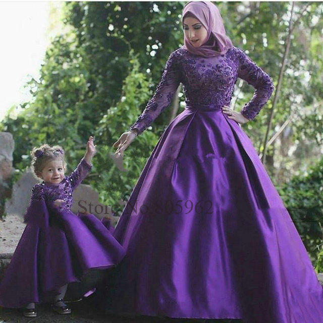 65cf8f0ca688 Elegant Full Sleeve with Appliques Ball Gown Flower Girl Dress 2017 ...