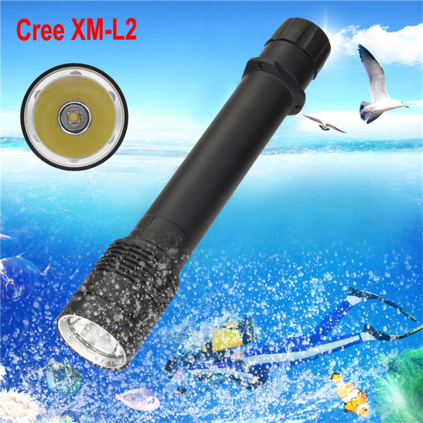 High Quality  XM-L2 LED Scuba Diving Flashlight Torch 26650 Light Underwater 100m