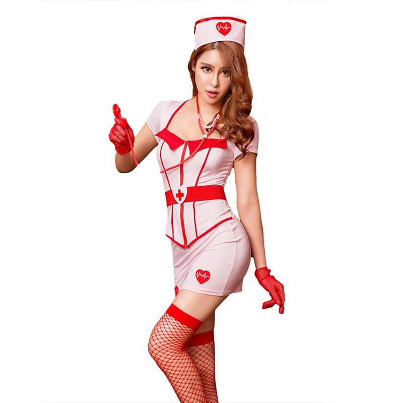 Exotic Apparel Lingerie Set Nurse Uniform Cosplay Costume Anime School Sexy Nightgown Fancy Night Party