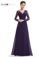 Formal Evening Dresses Ever Pretty HE08692PP Women S Elegant V Neck Long Sleeve Lace Plus Size