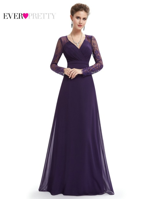 Formal Evening Dresses Ever Pretty HE08692PP Women's Elegant V-neck Long Sleeve Lace Plus Size Evening Dress