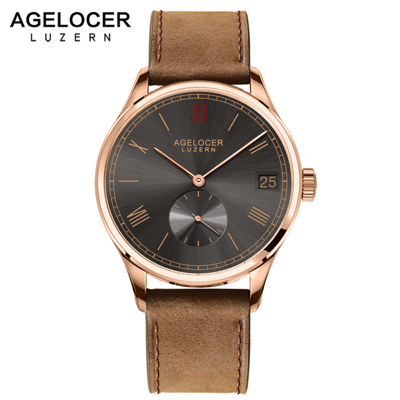 Luxury AGELOCER Wristwatch Brand Mechanical role Watch Gold plated Self-Winding Military Fossiler Automatic Auto Date Watch Men цена и фото