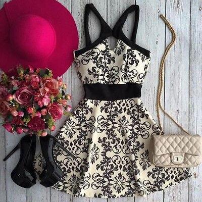 New Women Summer Sleeveless Evening Party Beach Dress Print  Short Mini Dress 6-14