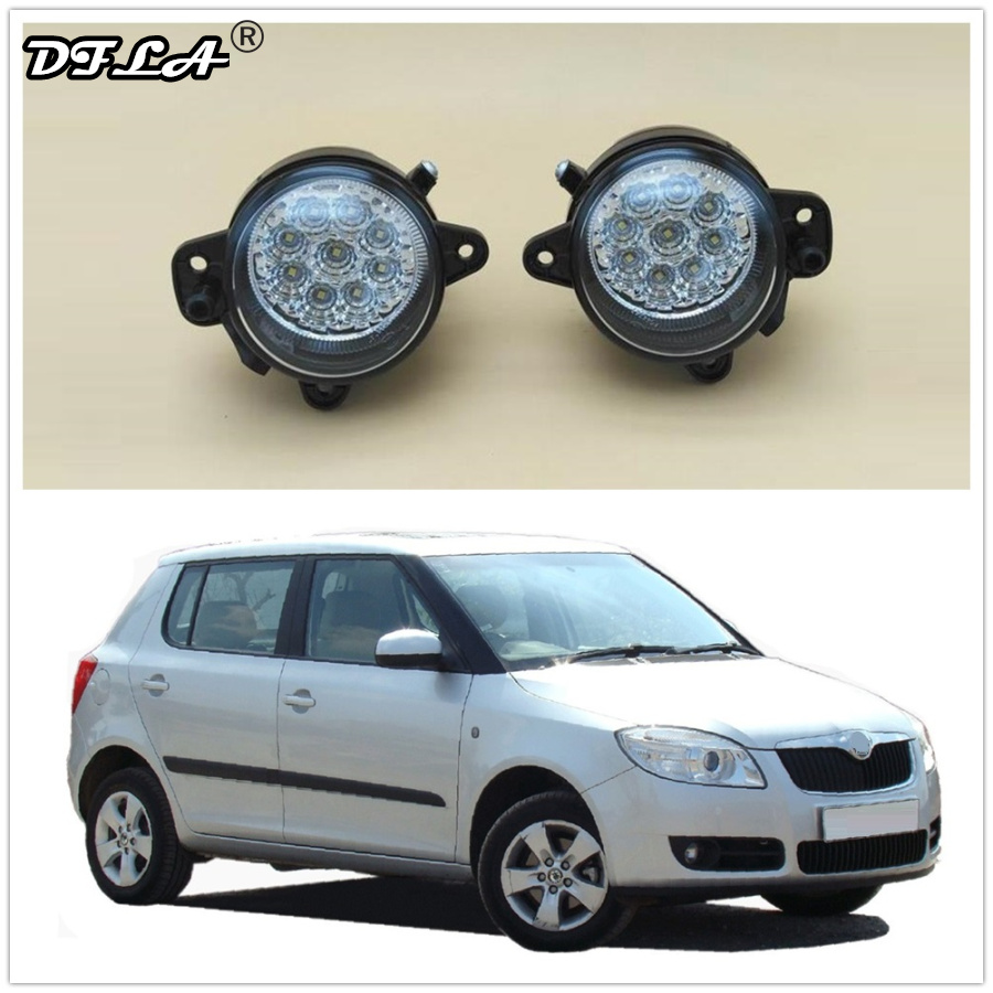 LED Car Light For Skoda Fabia 2 MK2 2007 2008 2009 2010 Car-Styling Front Bumper 9 LED DRL Fog Light Fog Lamp car styling led light for vw touareg 2003 2004 2005 2006 2007 right side led front bumper fog lamp fog light with bulb