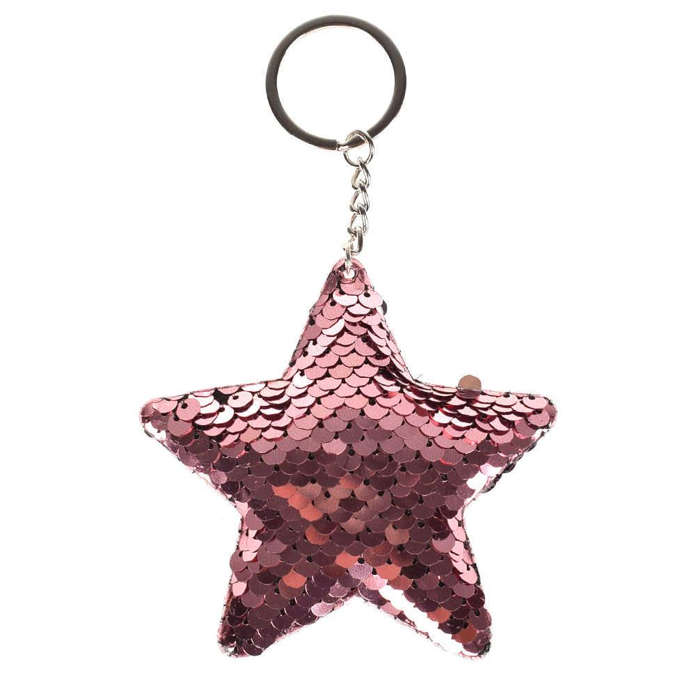 Bonito Presentes Da Corrente Chave Chaveiro Chaveiro Estrela Pompom Glitter Lantejoulas para As Mulheres Llaveros Mujer Saco Chave Acessórios Do Carro Anel