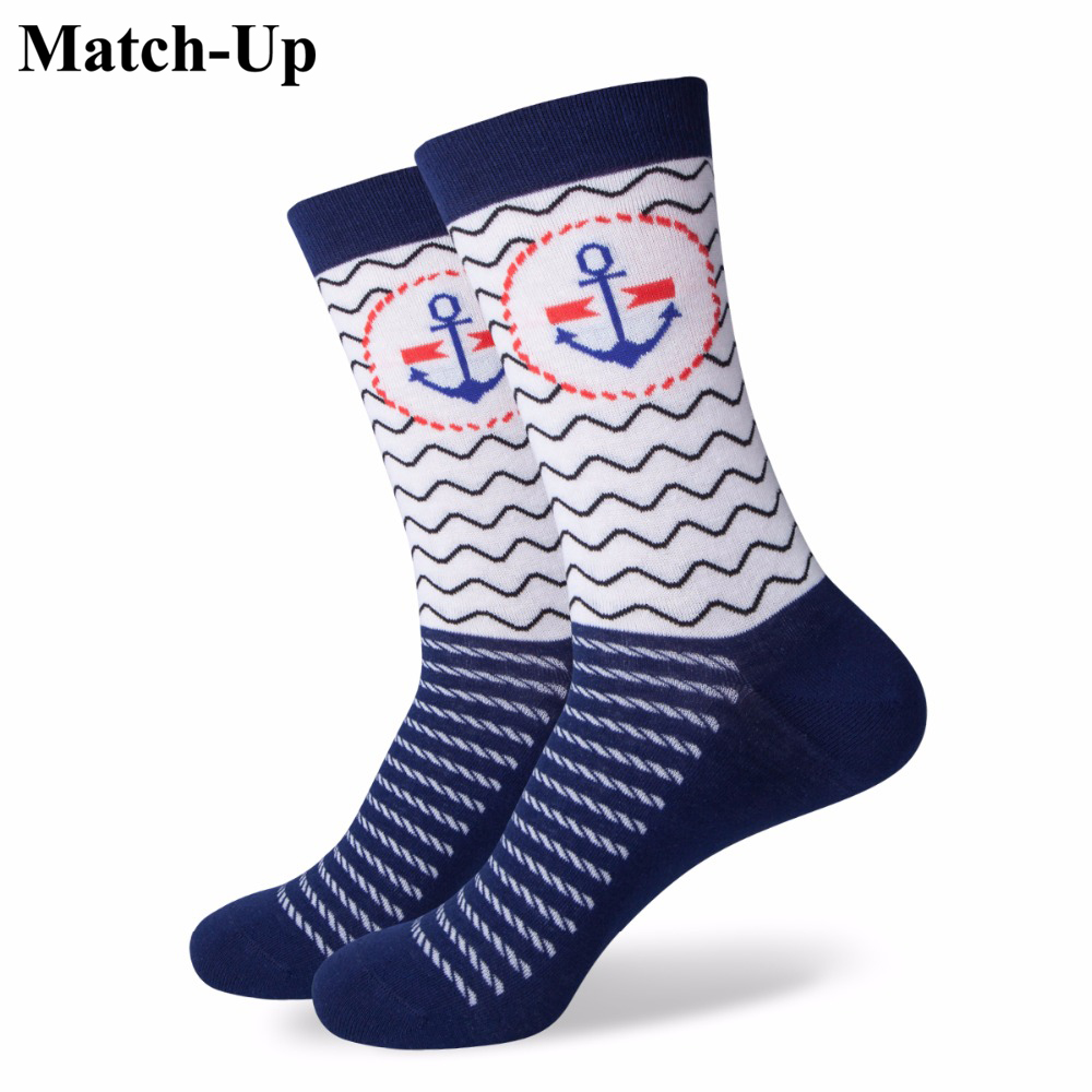 Match-Up Girl Combed Cotton Brand   Socks   Women Funny Cotton Anchor   Socks