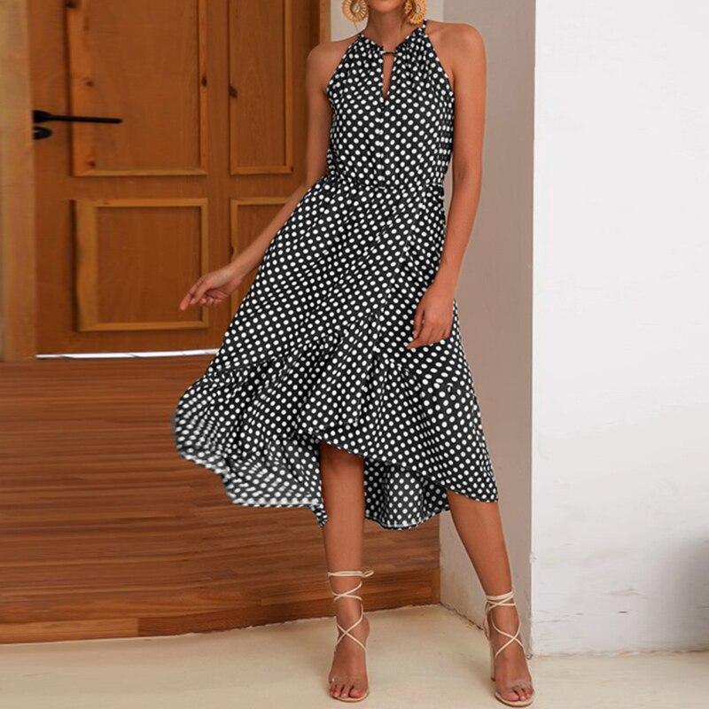 2019 Hot Sale Summer Womens Polka Dot Sleeveless Ruffle Maxi Dress Holiday Beach Halter Neck Sundress Black Coffee Casual Dress