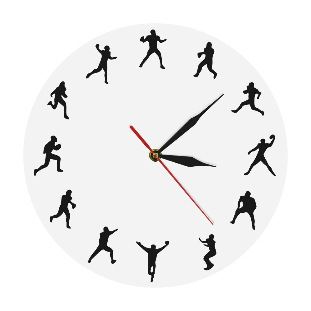 American Football Wall Clock Rugby Players Minimalist Design Sport Room Wall Decor Clock Watch American Football Enthusiast Gift