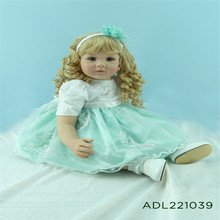 22 inch 55 cm  reborn Silicone dolls, Beautiful fashion princess dress lovely blonde hair girl