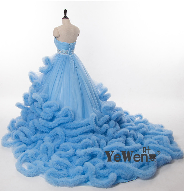 YeWen Luxury Princess Long train Cloud Wedding dress plus size Ball ...