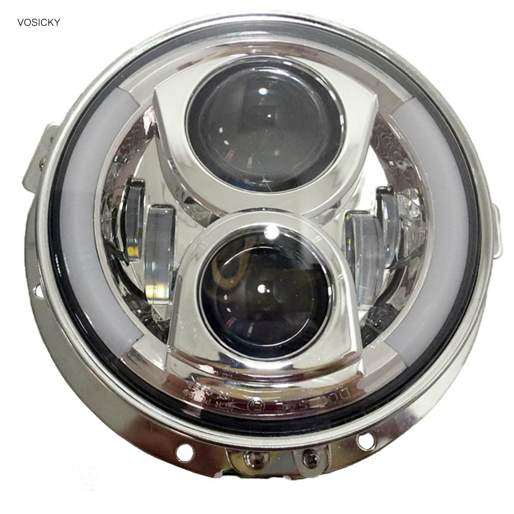 VOSICKY 7 inch round led headlight with DRL Angel Eyes for Harley Davidson Sportsterst with 7 inch headlight mounting bracket 2pcs 2017 new design 7 inch 40w motorcycle led auto angel eyes led headlight bulb with high quality
