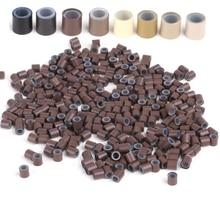 Бесплатная доставка (1000 шт./бутылка) 1 бутылочка 4,0x2,6x4,0 мм медные силиконовые кольца/трубки для наращивания волос I tip и Micro Ring