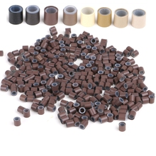 Free Shipping (1000pcs/bottle ) 1 bottles 4.0x2.6x4.0mm Copper Silicone rings /tubes for I tip and Micro Ring Hair Extensions