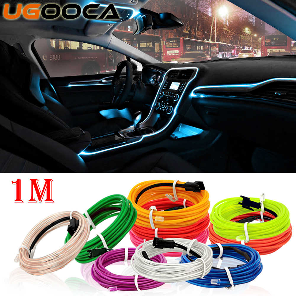 UGOOCA 1 Meters Car Interior Lighting Auto LED Strip Garland EL Wire Rope Tube Line Flexible Neon Light Auto Decorative Lights
