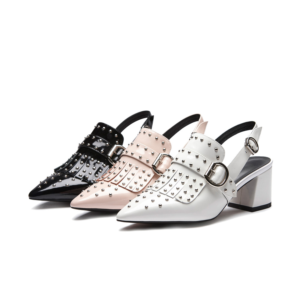 Cuadrado Zapatos blanco Mujer De Hebilla Verano Toe Moda Masgulahe Punta Genuinos Nuevos rosado Tacón Sandalias Negro Cuero Remache Negro qwHIUxnPFf