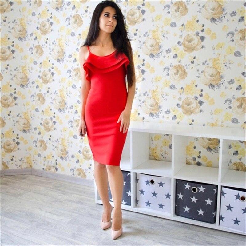 2018 Midi Moulante Robes Soirée Bretelles De Robe Spaghetti Femmes Ruches Lacée Rouge Sexy Tenue Sans Celebrity Sangle Fête D'été bfv6gyYI7m