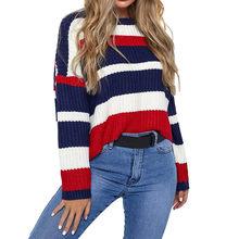 Новые свитера Мода 2018 Для женщин зимние корейский стиль Повседневное  длинный рукав вязаный пэчворк свободные свитера 5d324707305