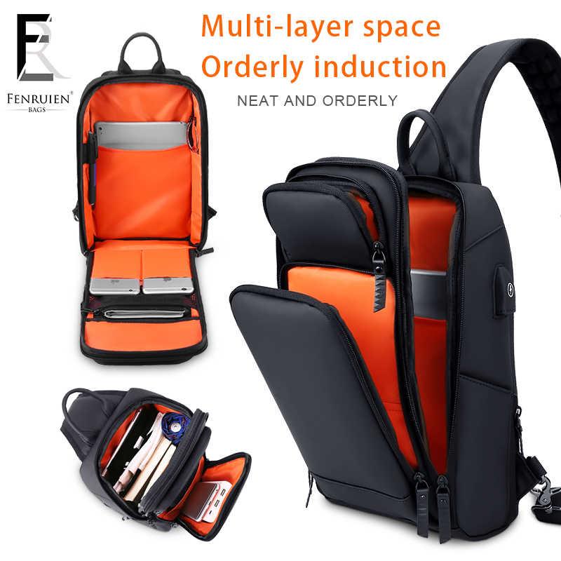 FENRUIEN Black Chest Pack Men Casual Shoulder Crossbody Bag USB Charging Chest Bag Water Repellent Travel Messenger Bag Male