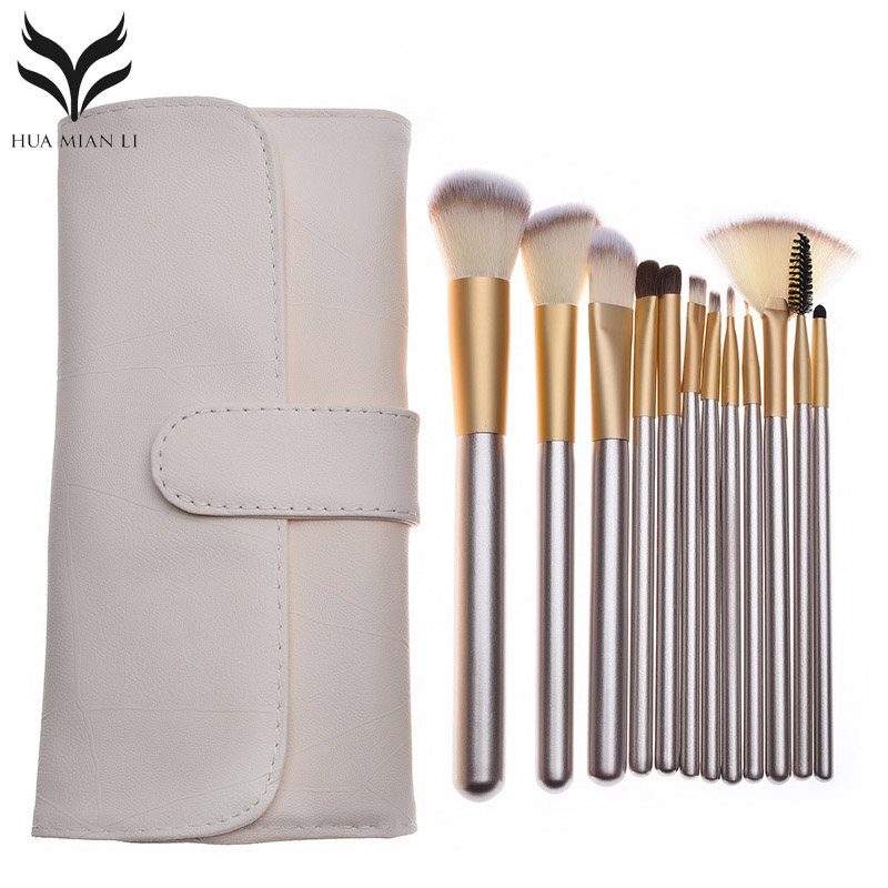 12Pcs Professional Makeup Brushes Set Cosmetic Powder Foundation Eyeshadow Blush Kits With Beige Brush Bag Pincel Maquiagem