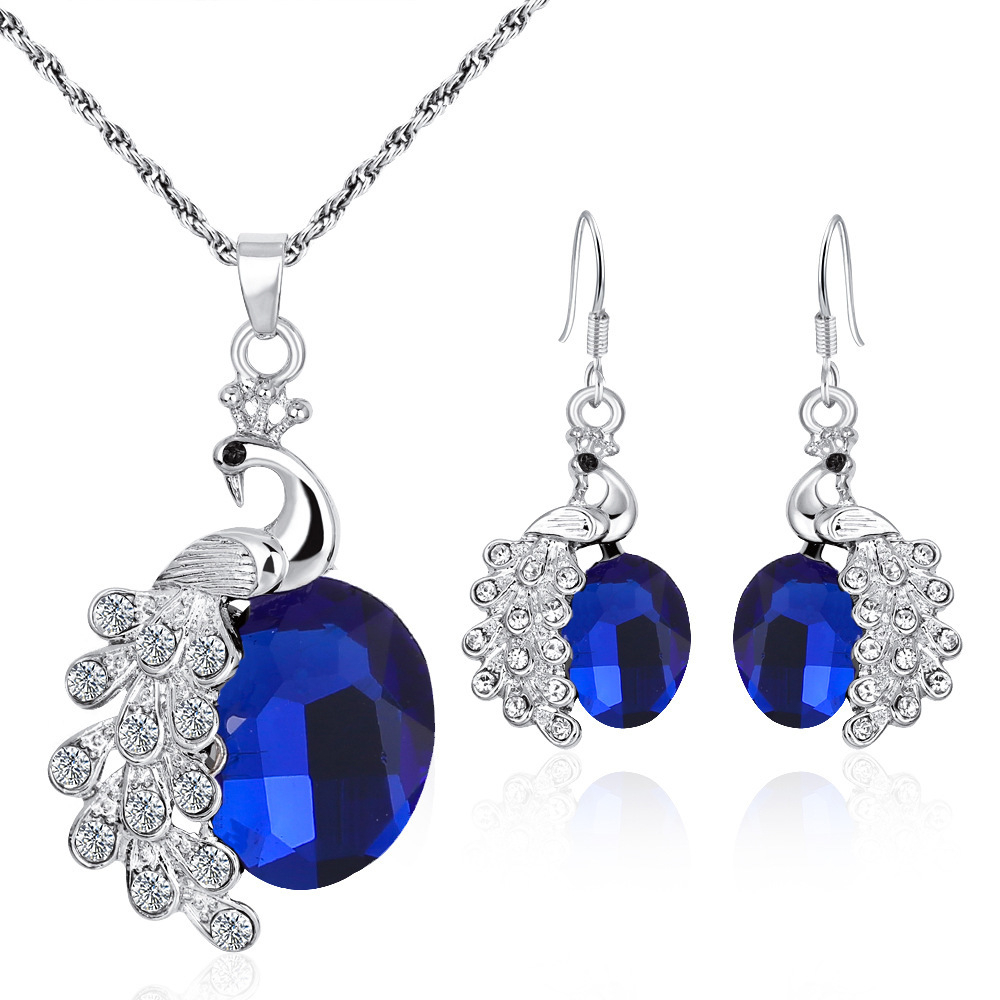 Suit Personality Peacock Color Maam Necklace Ear Nail For Women Heart CZ Stone Charm Pendants Necklaces Earrings LOVE Sets
