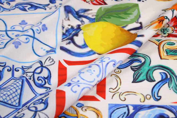 100X145cm Multicolor Majolica Lemon Cotton Poplin Fabric for Woman Girl Summer Dresses Skirt Shirts Sewing DIY-AF546