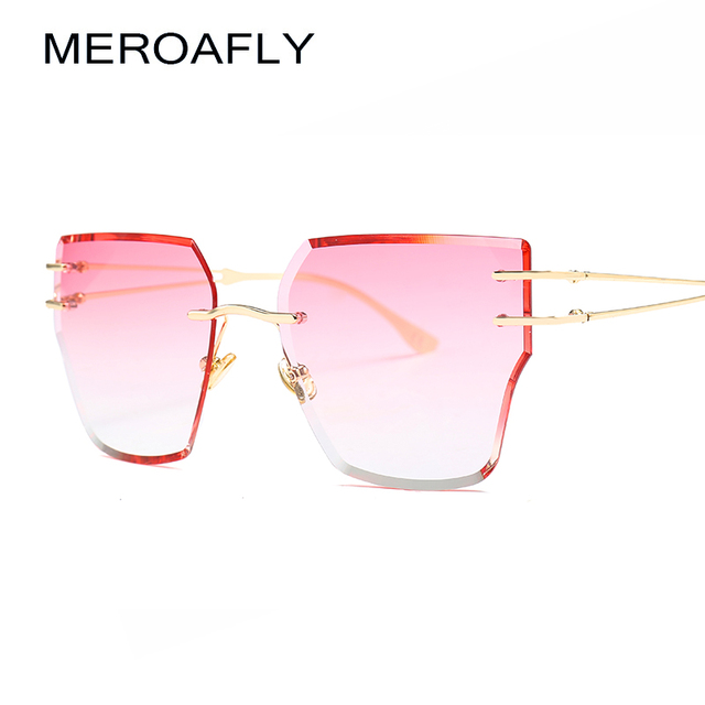 80e9a5b02a543 MEROAFLY Pink Rimless Sunglasses Women Brand Designer High Quality Red  Brown Fashion Sun glasses For Women UV400 Eyewear
