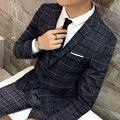 Juego de los hombres de negocios y de ocio vestido de fiesta 2017 nueva Caída de alta calidad de la tela escocesa rayas Hombres Delgados Chaqueta de Un Solo grano de la hebilla moda