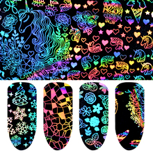 Pandahall 8 Pcs Holographic Laser Nail Foil 4cm by 20cm Geometric Xmas Unicorn Rose Flower Art Transfer Sticker