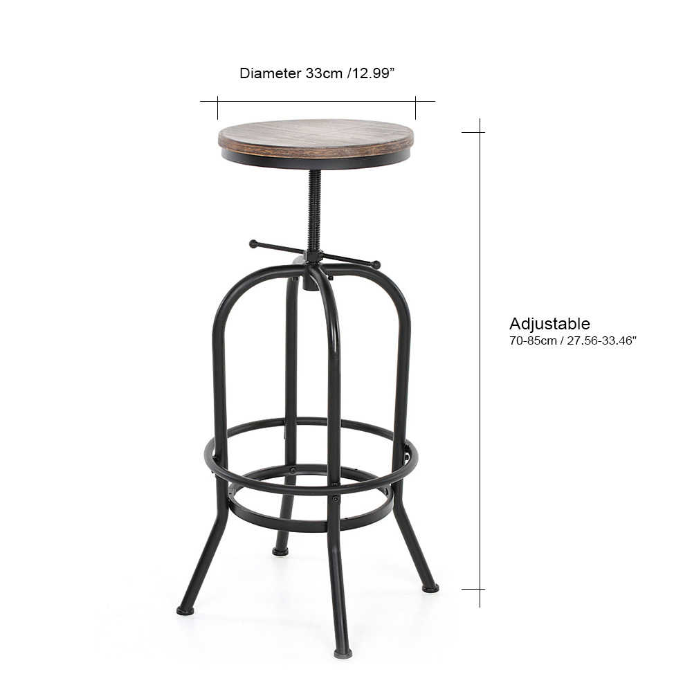Bar Stool Height Ikayaa Bar Stools Chair Industrial Style Bar Stool Height Adjustable Swivel Bar Stool Natural Pinewood Top Kitchen Dining Chair